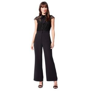 Betsy Johnson Tie Neck Mixed Lace Detail Jumpsuit